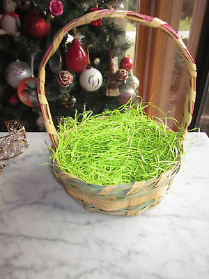 Vintage Woven Handled Easter Basket Pink Green Tan Wicker Retro
