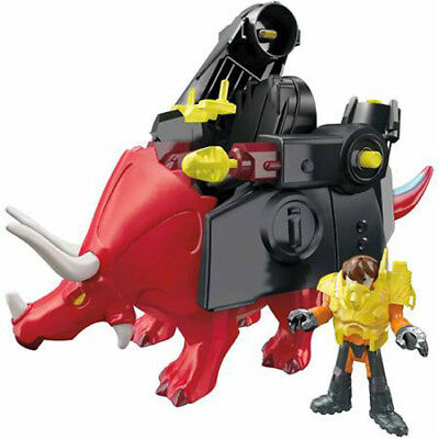 Triceratops Red Dinosaur With Battle Gear Fisher Price Imaginext