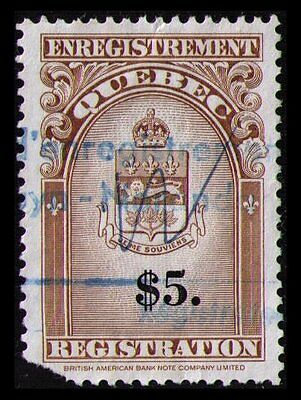 Canada Quebec Revenue 1962 Rare $5. #qr36 Used, Cat $10. See Scan (U251)