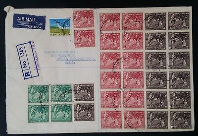 SCARCE 1967 New Zealand Registd Airmail Cover ties 33 stamps canc Auckland to US