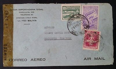 SCARCE 1943 Bolivia Censor Cover ties 3 stamps canc La Paz to New York USA