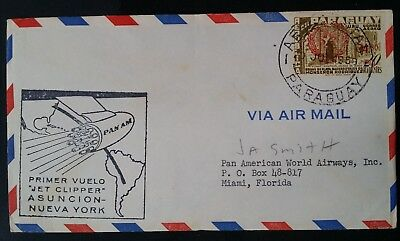 SCARCE 1959 Paraguay 1st Clipper Flight Asuncion to New York Cover ties 1 stamp