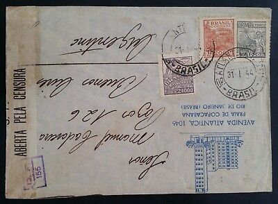 SCARCE 1944 Brazil Censor Cover  ties 3 stamps canc Atlântida to Argentina