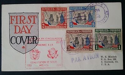 1938 Panama 150th Anniv of US Constitution FDC ties 4 stamps to USA