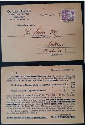 1930 Hungary Commercial Postcard ties 4F Crown stamp canc Budapest to Bottrop