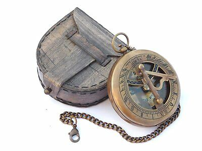 Sundial Compass with Chain & Leather Case Marine Nautical Antique Collectible