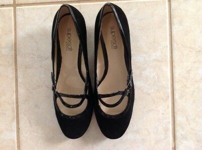 Supersoft by Diana Ferrari Ladies Black Suede Leather Shoe 39/8 Brand New