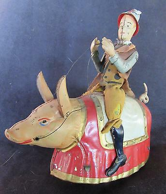 VERRY RARE Vintage 1903 LEHMANN (Germany) Tin Windup PADDY & THE PIG Toy