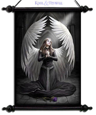 """Anne Stokes Scroll """"prayer For The Fallen"""" Gothic Angel With Large Wings"""