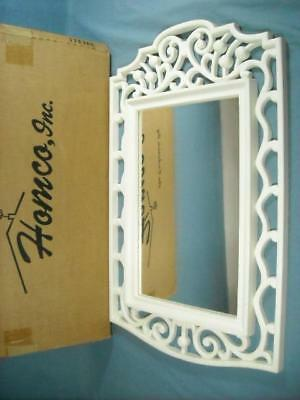 "Vtg 1986 Homco Home Interiors White Wicker Mirror W/ Box 22""  X 14"""
