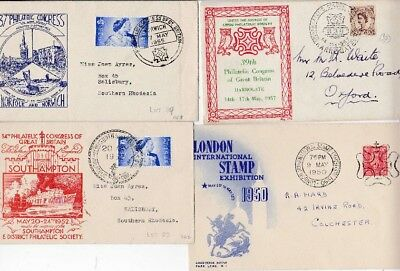3 x Philatelic Congress 1 x London Stamp Exhibition GEORGE VI ELIZABETH II