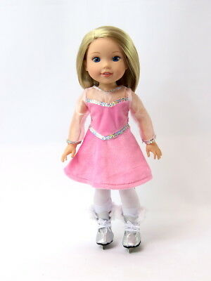 "Pink Ice Skater Outfit & Skates Fits Wellie Wishers 14.5"" American Girl Clothes"
