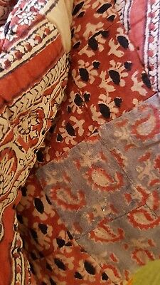 Vintage Antique Handmade Patchwork Quilt Indian Paisley Floral Shabby Boho Chic