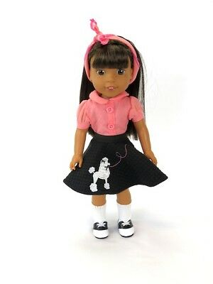 """Pink and Black 50s Poodle Skirt Outfit Fits Wellie Wishers 14.5"""" American Girl"""