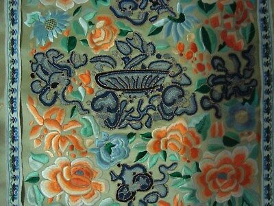 Antique Late Qing Dynasty Chinese Silk Embroidery with Forbidden Stitches