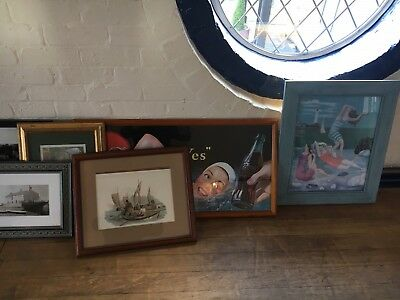 Joblot of Mixed Framed Vintage Artwork/Antique/Pictures/Prints Approx 200