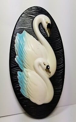 1965 Swan Plaque by Miller Studios Ceramic Wall Decor Retro Vintage Chalk Ware