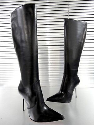 Giohel Knee High Boots Stiefel Pointy Stivali Shoes Pelle Leather Black Nero 43
