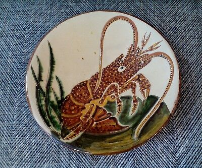 Vintage PUIGDEMONT large pottery charger plate wall plaque vgc crayfish lobster