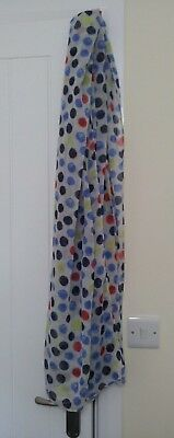 Spotty scarf white with blue, red & yellow spots, cotton, Pudsey bear?
