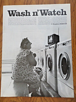 "1965 The Sony TV Television Ad  Wash n' Watch 9"" Anyplace Sony-TV"