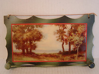 Vintage Hand Made Wooden Hanging Rack With Landscape Trees Picture Under Glass