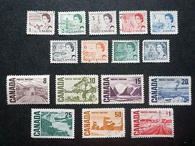CANADA  1967 CENTENNIAL DEFINITIVE ISSUE Complete set of 16 used stamp 1ȼ  to $1
