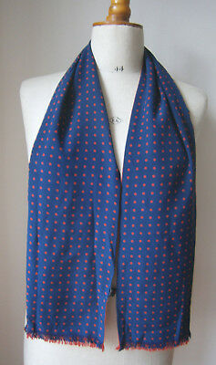 Vintage Simpsons Of Piccadilly Mens Silk Scarf Navy Blue & Red Spot Print/red