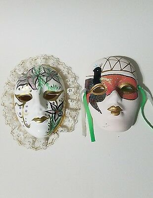 Pair of vintage, Small, Ceramic, decorative Wall Masks hand painted.