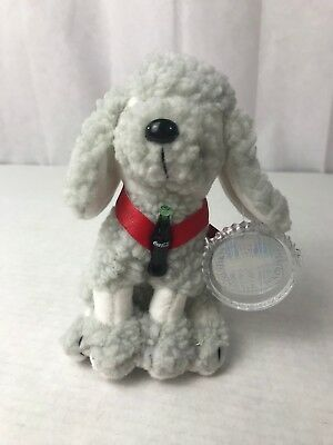 Coca Cola Strudel the French Poodle Beanbag Plush w/ Flag Tag and Coke Bottle