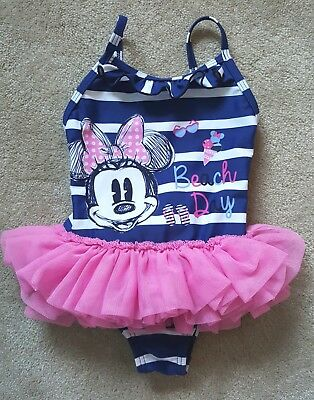 Disney Minnie Mouse Baby Girls Swimming Costume With Tutu 9-12 Months.