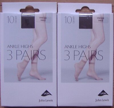 6 pairs John Lewis ankle highs. Shoe size 4-8 adult. Shade: Sable