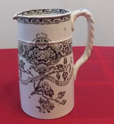 Antique Vintage Transferware Tankard Pitcher Hawthorn/May Flower Pattern Design