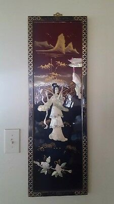 Asian Chinese Black Lacquer Mother of Pearl Inlay Oriental Art Picture D