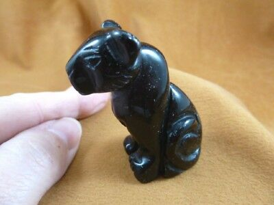 Y-CHE-708) little black Onyx CHEETAH gemstone GEM carving wild CATS cat statue