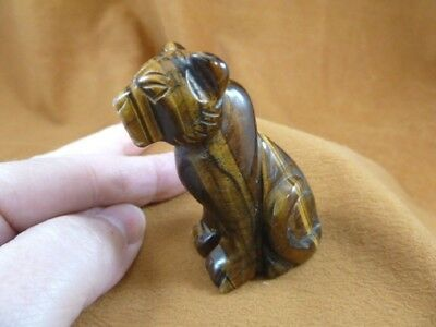 Y-CHE-706) brown Tiger's eye CHEETAH gemstone GEM carving wild CATS cat statue