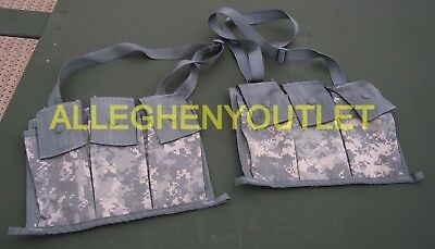 Lot Of 2 Usgi Molle Ii 6 Mag Bandoleer Mag Pouch - 3 Large Pockets - Acu - New