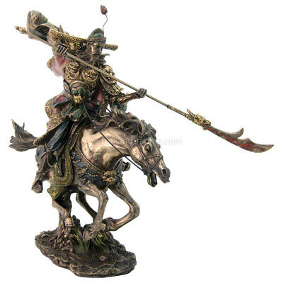 "Romance of the Three Kingdoms Hero - Guan Yu 12""H Cold Cast Bronze Statue 3092"