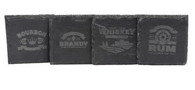 Vintage Slate Drink Coasters 4 piece Gift Set (Bourbon, Brandy, Whiskey, Rum)