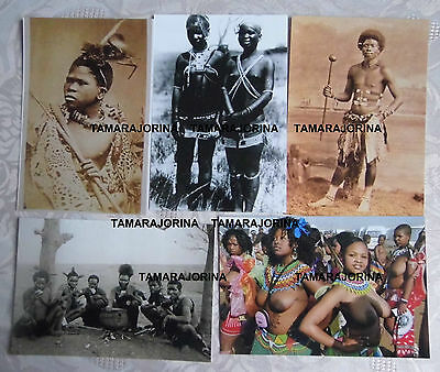 5 repro vintage photos, Zulu maidens,hunting party, warriors