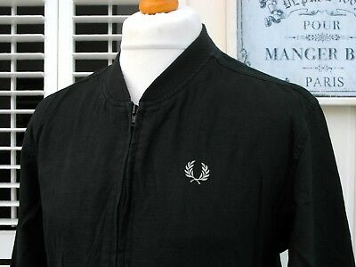 Fred Perry Black Linen Bomber Jacket - S/M - Ska Mod Scooter Casuals Skins Rare