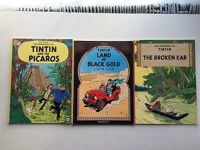 Tintin and the Picaros + Land of Black Gold + The Broken Ear - books FREE P&P