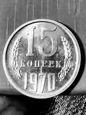 BRILLIANT! Russian USSR 1970 15 kopek! Practically Uncirculated Selling Cheap!!