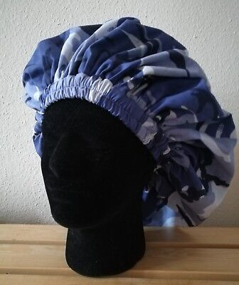 New Handmade Unisex Blue and White Cotton Camouflage Lined  Sleep/Lounge Caps