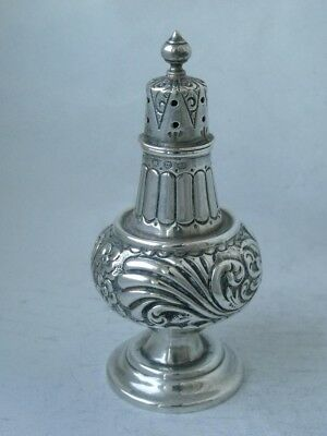 Pretty Antique Victorian Hand-Embossed Solid Silver Pepper Pot 1896/ H 9.5 cm