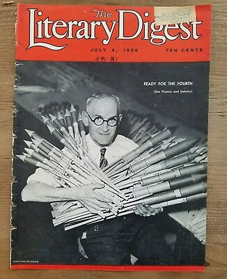 1936 Literary Digest magazine front cover only Fourth of July vintage fireworks
