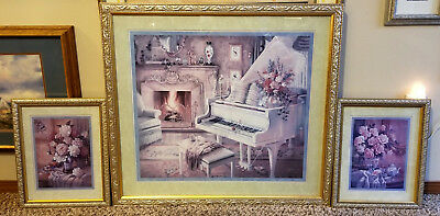 Antique Victorian Floral White Piano Room 3 Pc Set Framed Art Prints