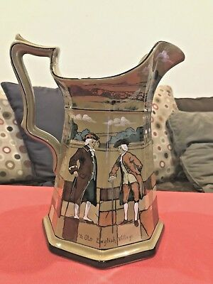 "Ye Buffalo Pottery Deldare Ware 1908 Ye Old English Village Pitcher 9.5"" tall"