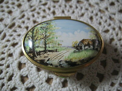 Staffordshire Enamel Hinged Lid Box Old English Cottage Scene Gold Trim