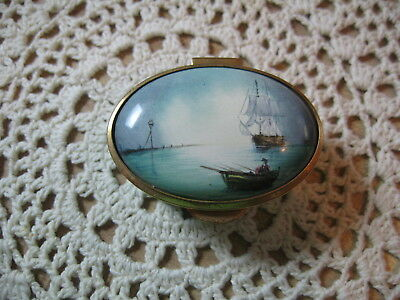 Staffordshire Enamel Hinged Lid Box Old English Nautical Tall Ship Fishing Scene